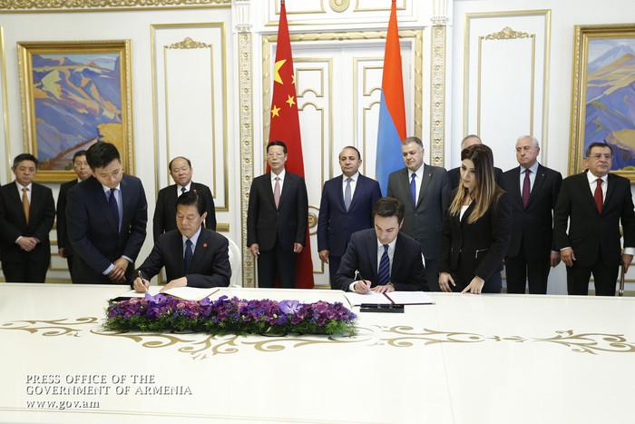 Կառավարությունում ստորագրվել են հայ-չինական համագործակցության զարգացմանը վերաբերող փաստաթղթեր
