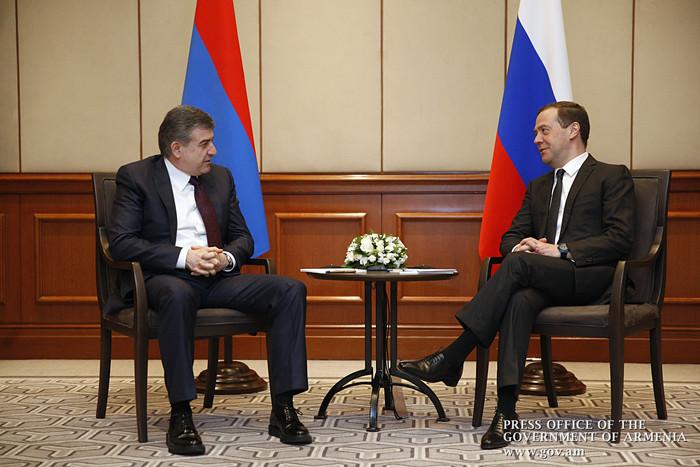 Карен Карапетян: Обсудили с Медведевым армяно-российский интеграционный фонд
