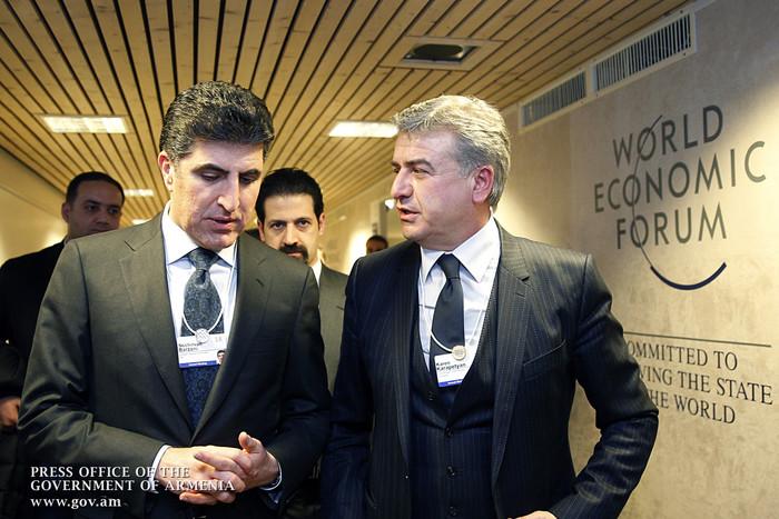 Карен Карапетяном встретился в Давосе с премьером Иракского Курдистана Н. Барзани