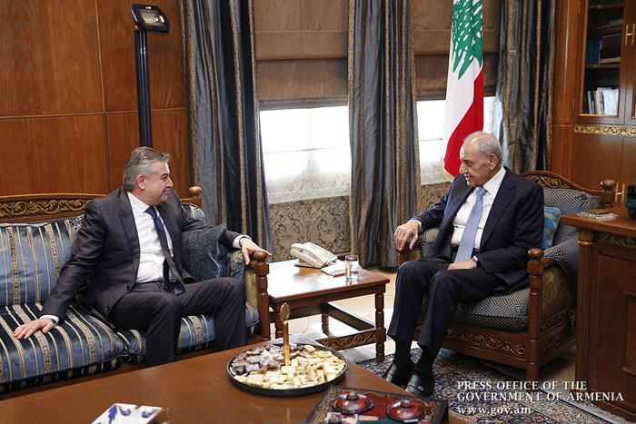Карен Карапетян на встрече с Набихом Берри заявил о важности межпарламентского сотрудничества между Арменией и Ливаном